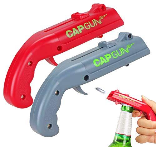 Cavatappi da birra, mini cavatappi a forma di pistola per cavatappi, utilizzati per sparare a tiratori di tappi che aprono tappi di birra, con una portata di oltre 5 metri (2 pezzi, rosso e grigio)