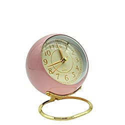 Analog Alarm Clock Retro Desk Clock Battery Operated Mini Silent Alarm Clock with Night Light for Bedroom Beside Shelf Tabletop Classic Metal Alarm Clock (Pink)