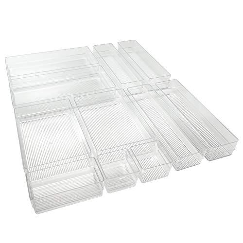 Hausfelder ORDNUNGSLIEBE großes Schubladen Organizer Ordnungssystem - zur Aufbewahrung für Küche Büro Schminktisch Kosmetik, variabel und transparent aus Kunststoff