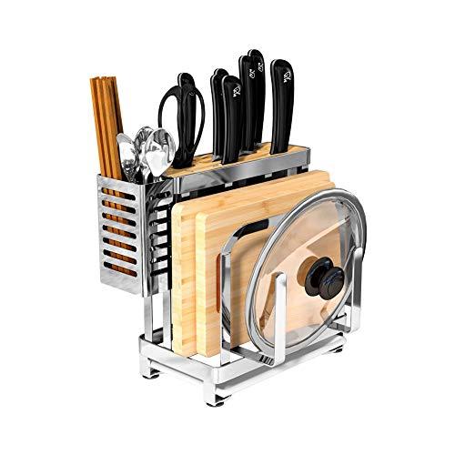 YCHSG Küchenregal 304 Edelstahl Messerhalter Küchenbedarf Multifunktionsmesserhalter Rack Ablageboden