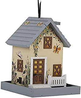 Amish Platform Bird Feeder Wood Garden Hanging Bird House Nature Lovers Breakfast Gifts Outdoor Patio Decor (C)