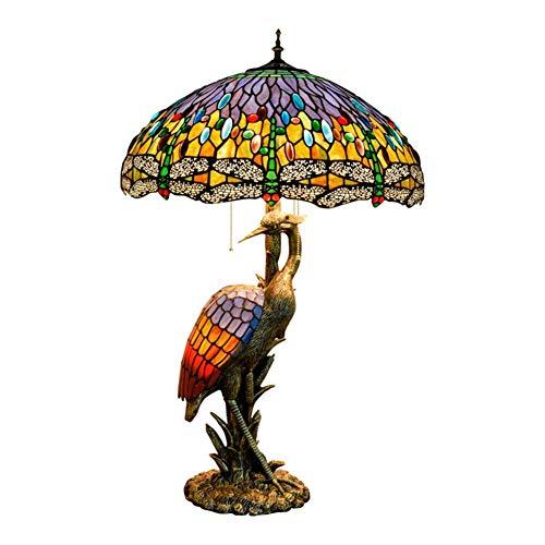 OUPPENG Dimmer Mujer del estilo de Tiffany lámpara de escritorio de la grúa, 50CM azul de la libélula pantalla de cristal, luz de la noche Adecuado for su estilo de Tiffany cubierta Habitación Decorar