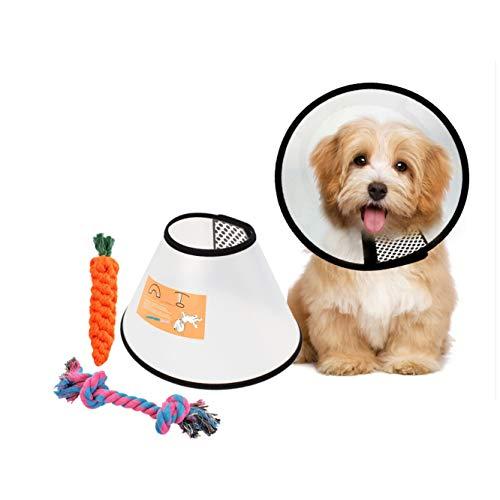 JZK Morbido Chiaro plastica Collare elisabettiano Coni Collare Protettivo Forma Cono per Cane con Giocattoli in Corda di Cotone per Cani (Circonferenza Collo: 26-33 cm)