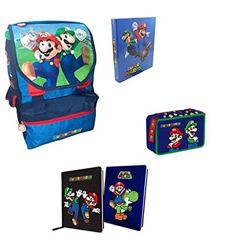 Generico Zaino compatibile super Mario+ astuccio 3 zip+Diario+Raccoglitore super Mario