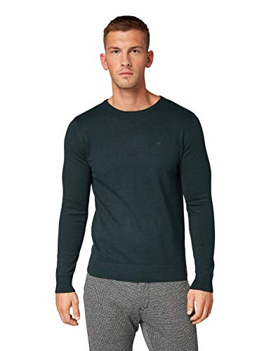 TOM TAILOR Herren Pullover & Strickjacken Schlichter Strickpullover Dark Gable Green Melange,S