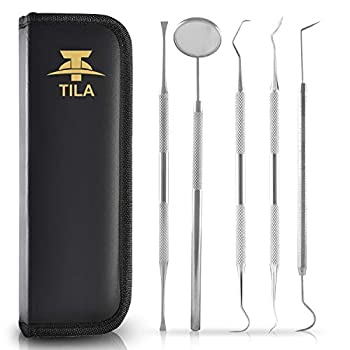 Dental Hygiene Kit Best for Personal Use Deep Tooth Cleaning - Calculus Plaque Remover Set - Scaler Instruments Tartar Scraper Tooth Pick Mouth Mirror -Premium Stainless Steel 5pc Dentist Tools Set