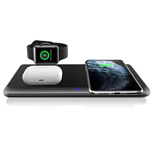 LECHLY Kabelloses Ladegerät, Qi-Zertifiziert, Wireless Charger 3 in 1 für Apple Watch 6/5/4/3/2/1, AirPods Pro ladestation, 7.5W für iPhone 12/12 Pro Max/11/11pro/Se/XS/XR/8, Samsung Galaxy S20/S10
