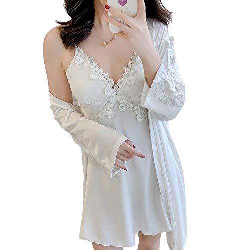 Laura Lily - Pijamas Mujer de Seda Satén con Encaje Floral Conjunto de 2 Piezas de Color Liso Sólido (Blanco, L)