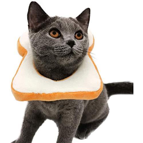 JKGHK weiche Brot-Scheibe Elizabeth Pet Erholung Kegel für Katzen kleine Hunde, Nette Brot-Shaped Halsband, Schutzhals Kegel, Karikatur-Kostüm für Pet Show Cosplay,L