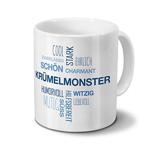 printplanet Tasse mit Namen Krümelmonster Positive Eigenschaften Tagcloud - Blau - Namenstasse, Kaffeebecher, Mug, Becher, Kaffeetasse
