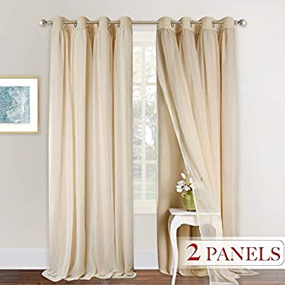 NICETOWN Nursery Sheer Plus Blackout Curtains for Girls Bedroom/Kids Livingroom/Sliding Door, Window Treatment Layered Curtains with Grommet Top (2 PCs, 108 inches Long, Tie Backs Included)