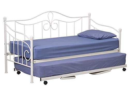 Lisbon Metal Day Bed with Trundle White Victorian Style 3FT Single Guest Sofa Bed Frame Bedstead