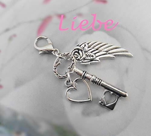 Flügel Schlüssel Herz Rose Metallanhänger Charm Liebe Love romantischer Schmuck Handmade