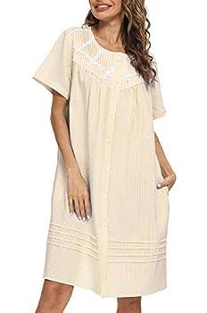 AVIIER House Dress Women Short Sleeve Duster House Coat Robe Button Down Sleepwear  XL Beige