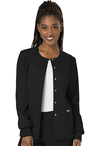 Cherokee Women's Snap Front Warm-up Jacket, Black, Medium