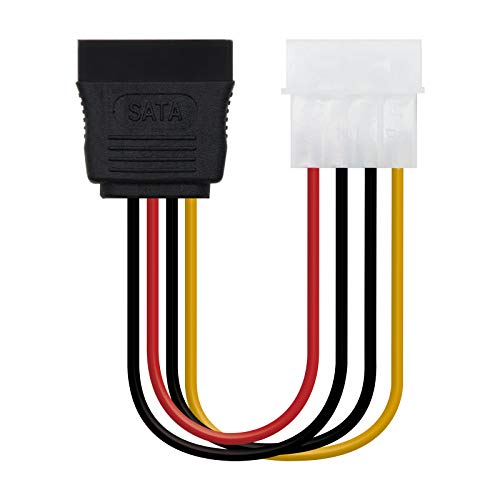 NanoCable 10.19.0205-OEM - Cable SATA alimentación a MOLEX, 4pin/M-SATA/H, macho-hembra, 16cm