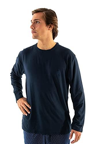 El Búho Nocturno - Camiseta Manga Larga Punto C Redondo Lisa Marino 95% algodón 5% Elastano Talla 3 (M)