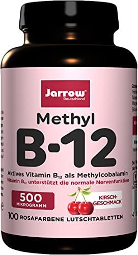 Methyl B12 500 µg, aktives Vitamin B12 als Methylcobalamin, Lutschtabletten mit Kirschgeschmack, vegan, Jarrow, 1er Pack (1 x 100 Stück)