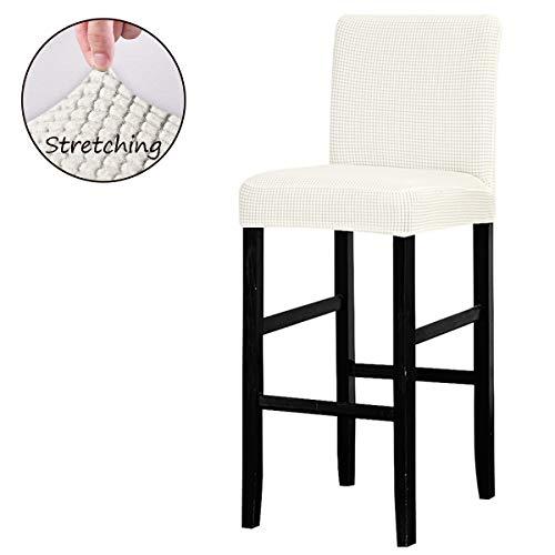 Lanshengg Stoelhoes, afneembare wasbare stoelhoes voor short swivel dining stoel rugleuning barkruk stoel 6 Stück crème-wit