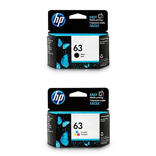 HP 63 | 2 Ink Cartridges | Black, Tri-Color | F6U61AN, F6U62AN | Bundle