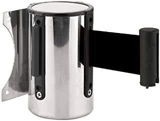 FixtureDisplays Stanchion Queue Barrier Post Wall Mount Retractable Ribbon 17' Belt Black 12004-8-BLACK 12004-8-BLACK