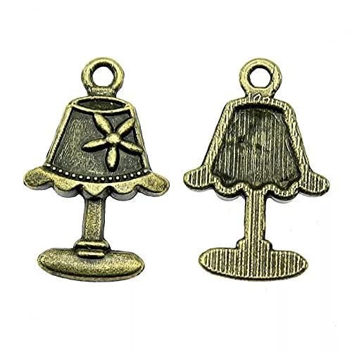LLBBSS 10 Piezas Encantos Hallazgos Accesorios De Bricolaje Lámpara De Mesa Colgante Bronce Antiguo Plateado 0.9X0.6 Pulgadas (23X15 Mm)