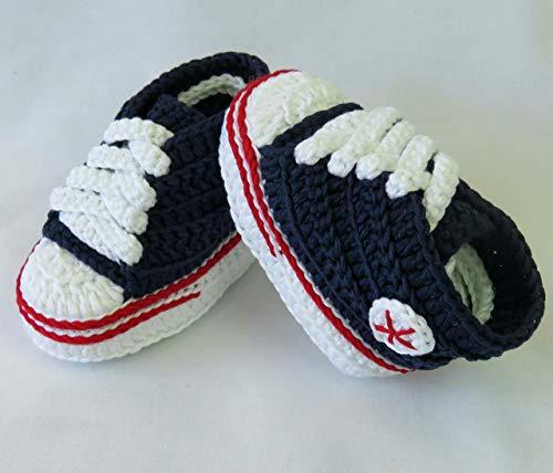 Patucos para Bebé Recién Nacido tipo Converse, 0-3 meses Azul Marino. Handmade. Crochet. España