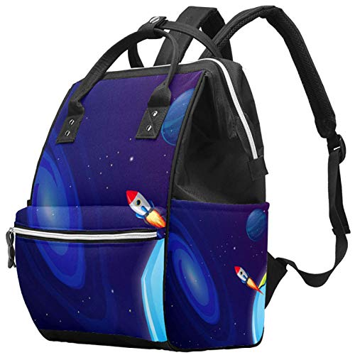 Mochila multifunción para viajes de ocio y escuela, espacio exterior, astronauta universo, bolsa de pañales con correa ajustable para hombres, mujeres, niñas y niños