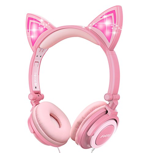 Kinder Kopfhörer, Ifecco Faltbare Kopfhörer mit LED Katzen Ohren Verkabelte Over Ear Headset Kopfhörer für iPod iPad iPhone Android Handy Tablet PC MP3 MP4 Playe (Rosa)