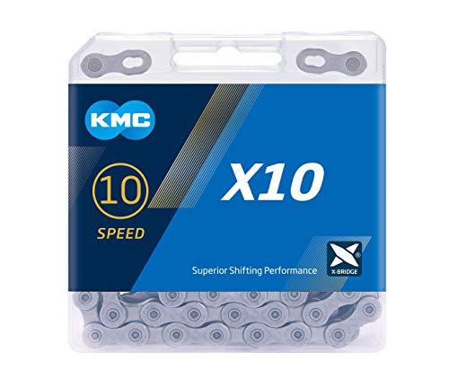 KMC Unisex– Erwachsene Grey X10 10-Fach Kette, 114 Glieder, grau
