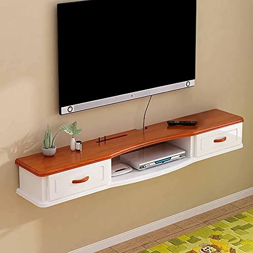 Mueble de TV Flotante, Mueble TV de Pared Estante de Almacenamiento Multimedia de Madera con Cajones, Unidad de TV Flotante de Pared para Oficina en Casa/B/Los 140CM