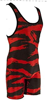 Matman Funky Camo Wrestling Singlet - Red/Black - Mens and Boys