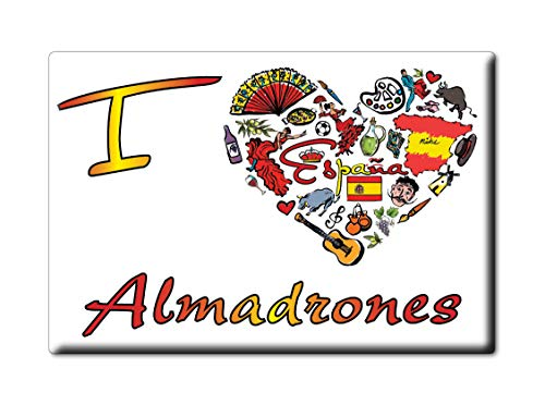 Enjoymagnets ALMADRONES Souvenir IMANES DE Nevera Reino Unido Castilla LA Mancha IMAN Fridge Magnet Corazon I Love (VAR. Symbol)
