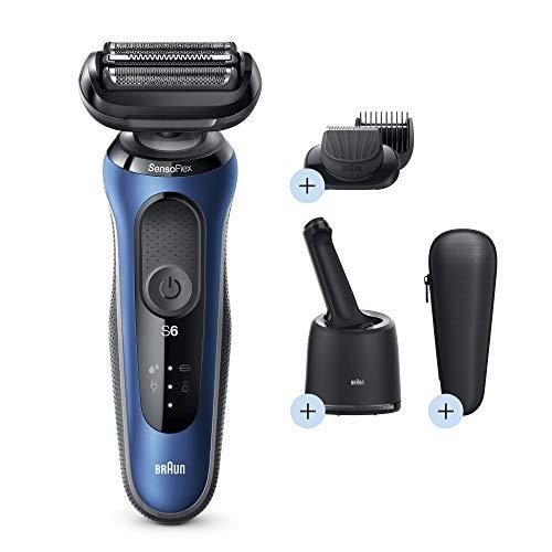 Braun Series 6 60-B7500cc Afeitadora Eléctrica, máquina de afeitar barba hombre de lámina, Con Centro De Limpieza SmartCare, Recortadora De Barba, Uso En Seco Y Mojado, Recargable, Inalámbrica, Azul