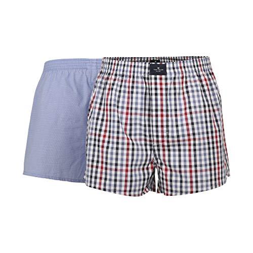 TOM TAILOR Herren Unterwäsche Boxer-Shorts im Doppelpack Blue mid.Caro,L/6