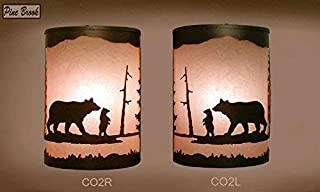 Pair of 2 Rustic Light Bear Wall Sconce Lamp,Right Facing Cabin Decor Lamp Left &