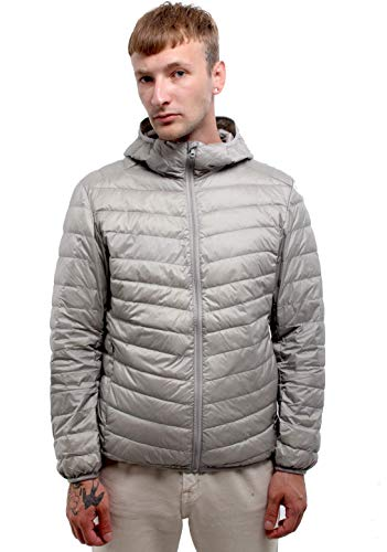 Outdoor apparel Packable Light Jackets for Men Workout Hoodie Abrigos Para Hombres Down Coat Ultra Casual Outerwear Boys Snow Heat Ultralight Hooded Chamarra Bubble Feather Puffy (Light Gray, S)