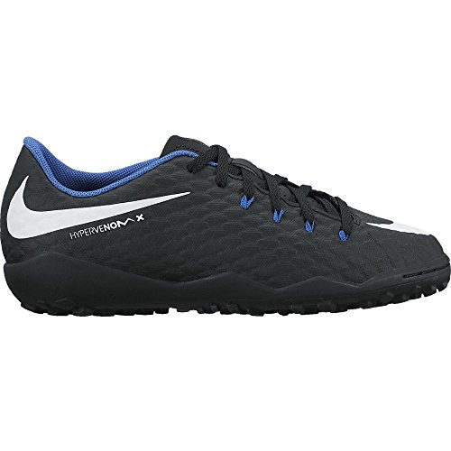 Nike JR Hypervenomx Phelon III TF–Schuhe Futsal, Unisex Kinder, schwarz–(Black/White-Game Royal)