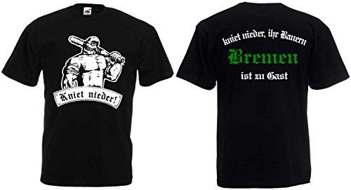 World-of-Shirt Herren T-Shirt Bremen zu Gast kniet nieder Ihr Bauern|M