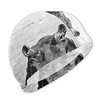 10代の若者のためのカバの動物の芸術の女の子の水泳帽、防水髪の水泳帽、特別な印刷の子供の快適な水泳帽