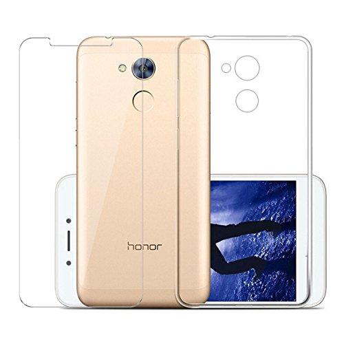 """LJSM Cover Huawei Nova Smart/Huawei Honor 6C Trasparente + Pellicola Protettiva in Vetro Temperato, Morbido Clear Trasparente Silicone Custodie Protettivo TPU Gel Sottile Cover per (5.0"""")"""