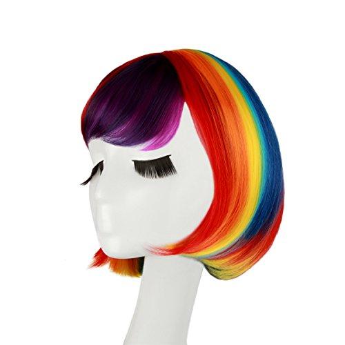 Bob Perücke Karneval Regenbogen ca.30cm für Damen und Frauen, glatte Bunte Kurzhaarperücke für Kurzhaar Halloween Vika oder Mottopartie Weihnachten