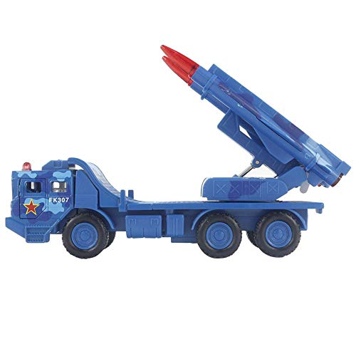 Zerodis Maßstab 1:55 Raketenwerfer Realistischer Krieg Militärische Kampffahrzeuge Bewegliche Raketenabschussrampe für Indoor Outdoor Spielen(Blau)