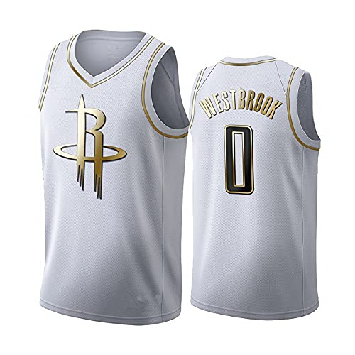 Camiseta de Baloncesto Chaleco Hombre NBA Basketball Rockets No. 0 Jersey Camisetas Casuales de Media Manga, L