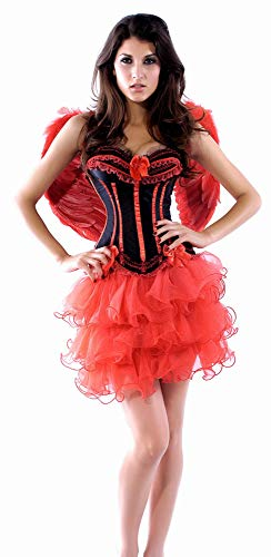 R-Dessous Damen Kostüm Corsage + Flügel + Rock Tutu Halloween roter Engel Bad red Angel Fee Groesse: S