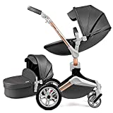 Hot Mom Kombikinderwagen 2 in 1 Kinderwagen 2021 Neues Design 360 Derhbar (Dark Grey)