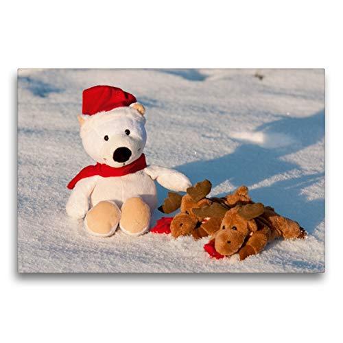 Premium Textil-Leinwand 75 x 50 cm Quer-Format Frohe Weihnachten - Teddy mit Elch im Schnee.   Wandbild, HD-Bild auf Keilrahmen, Fertigbild auf hochwertigem Vlies, Leinwanddruck von Meike Bölts