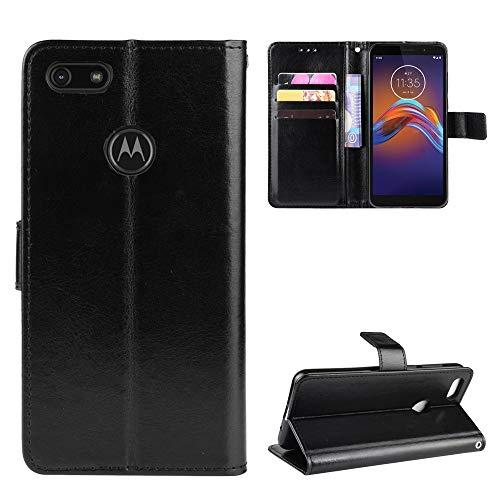 Snow Color Moto E6Play Hülle, Premium Leder Tasche Flip Wallet Case [Standfunktion] [Kartenfächern] PU-Leder Schutzhülle Brieftasche Handyhülle für Motorola Moto E6 Play - COBYU030807 Schwarz