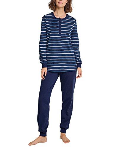 Schiesser Damen Anzug lang 167641' Zweiteiliger Schlafanzug, Blau (Dunkelblau 803), 36