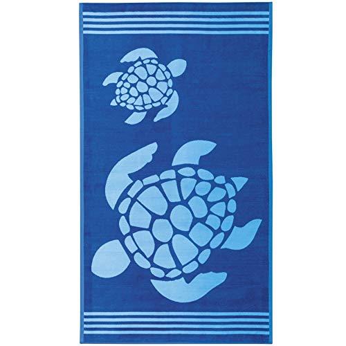 Delindo Lifestyle Tropical Toalla de playa, XXL, 100% algodón, 100 x 180 cm, diseño de tortuga, color azul